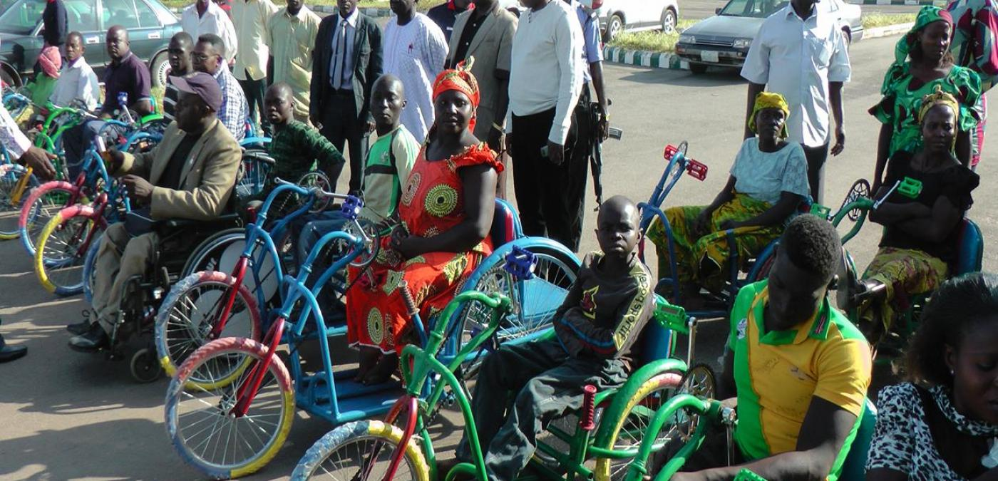A group of disabled Nigerian's sitting in wheel chairs